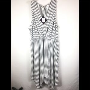 Ava & viv stripe sleeves less dress faux wrap 3XL